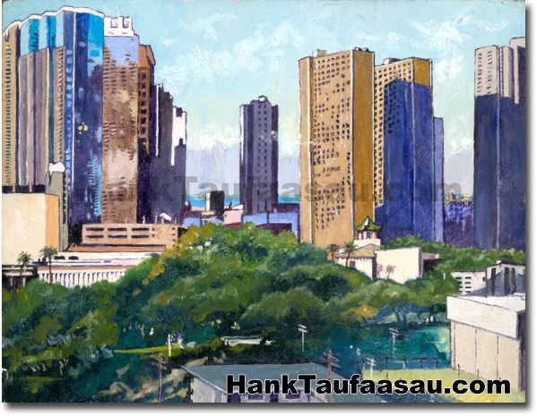 Chinatown from Punchbowl   - Hawaii Fine Art by Hank Taufaasau