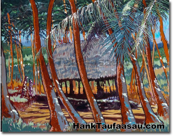 Fale Palms - Hawaii Fine Art by Hank Taufaasau
