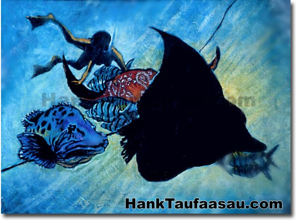 Paniolo Manta - Hawaii Fine Art by Hank Taufaasau
