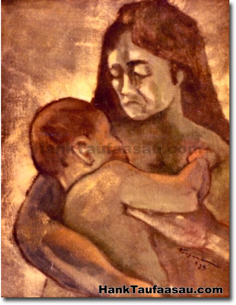 Micronesian Mother And Child - Hawaii Fine Art by Hank Taufaasau