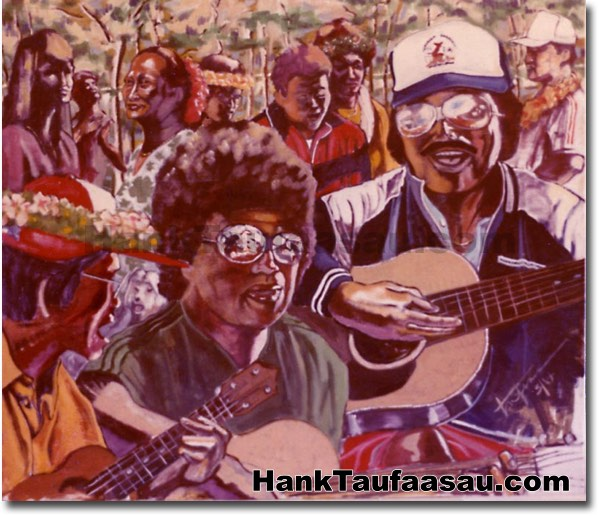 Kapiolani Tennis Gang - Hawaii Fine Art by Hank Taufaasau