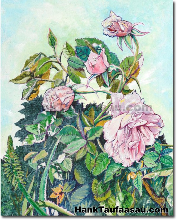 Pink Roses Hawaii Fine Art Originals For Sale Hank Taufaasau