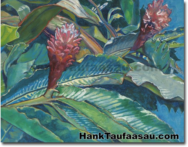 Torch Ginger Hawaii Fine Art Originals For Sale Hank Taufaasau